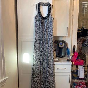 DVF Long Silk Snakeskin print Collared Dress Sz 14